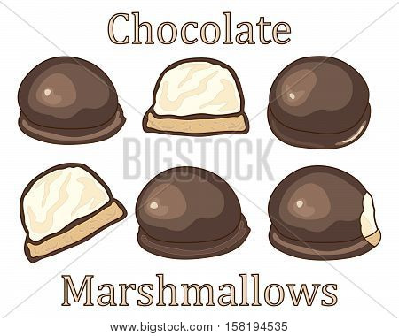 an illustration of chocolate covered marshmallow symbols in advertisement format with halves whole and bites on a white background