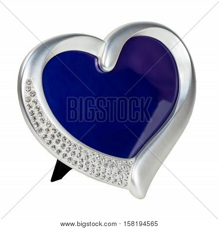 Metal photo frame inlaid with rhinestones and pearl in form of heart with place isolated for your photo.