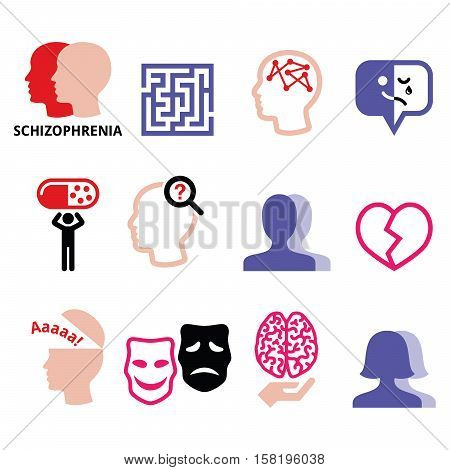 Schizophrenia, mental health, psychology vector icons set