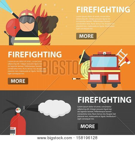 Set of vector flat horizontal banners of firefighting for website. Business concept of firefighter profession, emergency, fire protection and danger situation.
