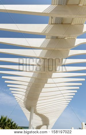 MALAGA SPAIN - SEPTEMBER 3: Beautiful architectural structure at Port of Malaga Spain