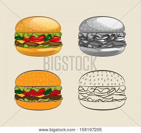 Burger with juicy beef fresh lettuce tomatoes cucumbers cheese and ketchup. Vector illustration of a delicious hamburger menu for take-out fast food restaurant or a barbecue invitation.