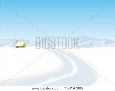 House with snow covered roof in a pine forest. Winter night landscape.