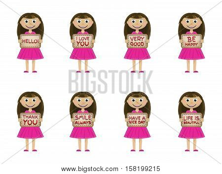 Little girls set on a light background with a sign in his hand with the various words and phrases. Vector illustration.