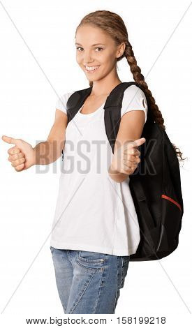 Friendly Young Girl with Rucksack and Thumbs Up - Isolated