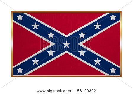 Historical national flag of the Confederate States of America. Known as Confederate Battle Rebel Southern Cross Dixie flag. Patriotic symbol banner. Flag of CSA golden frame textured illustration
