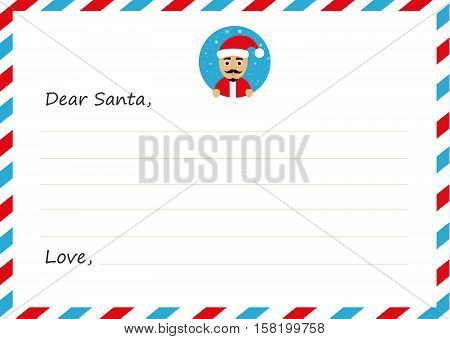 Template envelope New year's letter to Santa Claus. Icon with character. Flat design. Vector illustration.