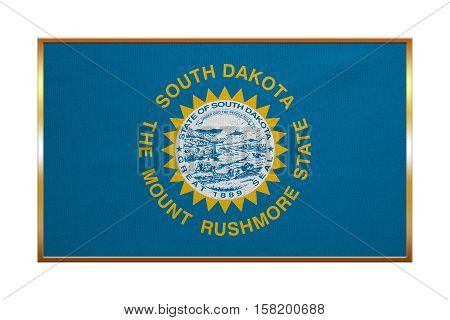 Flag of the US state of South Dakota. American patriotic element. USA banner. United States of America symbol. South Dakotan official flag golden frame textured illustration. Accurate size colors