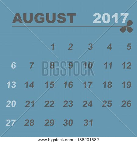 Simple calendar template of august 2017 stock vector