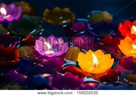 Candle flowers colorfulBeatiful loy krathong day from Thailand