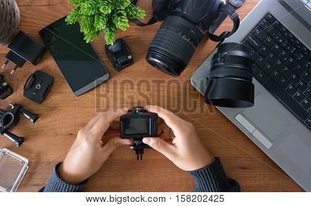 Camera's Action With Their Accessories