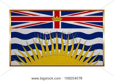 Canadian provincial BC patriotic element and official symbol. Canada banner and background. Flag of the Canadian province of British Columbia golden frame textured illustration. Accurate size colors