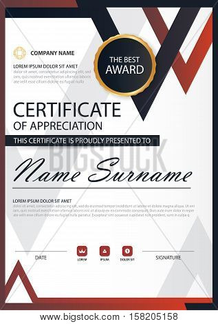 Red black Elegance vertical certificate with Vector illustration white frame certificate template with clean and modern pattern presentation