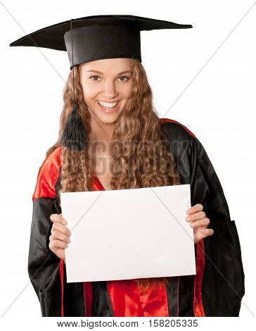 Friendly Young Girl in Graduation Gown Holding a Placeholder - Isolated