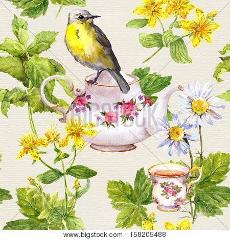 Herbal tea - tea pot, cup and cute bird. Repeating pattern. Watercolor