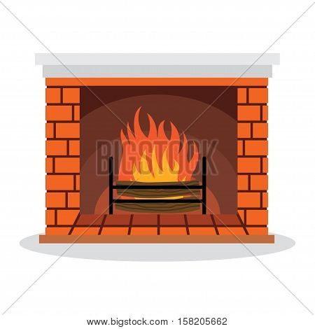 Illustration Fireplace with Fire Isolated on White Background