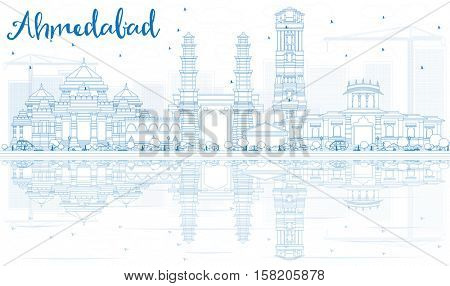 Outline Ahmedabad Skyline with Blue Buildings and Reflections. Vector Illustration. Business Travel and Tourism Concept with Historic Architecture. Image for Presentation Banner Placard and Web Site.