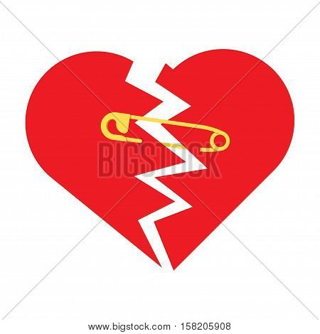 Using Safety Pin to Keep Together a Broken Heart. Metaphorically trying to mend a broken in half red heart with safety pin. Flat design, on white background