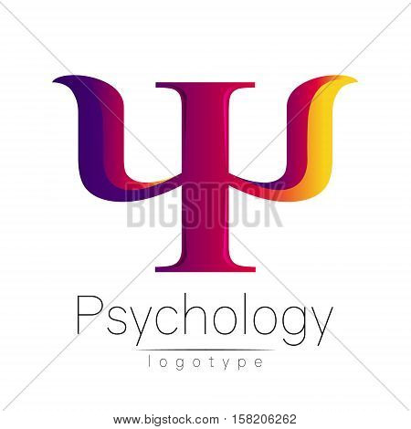 Modern logo of Psychology. Psi. Creative style. Logotype in vector. Design concept. Brand company. Violet yellow pink color letter on white background. Symbol for web, print, card, flyer. Bright