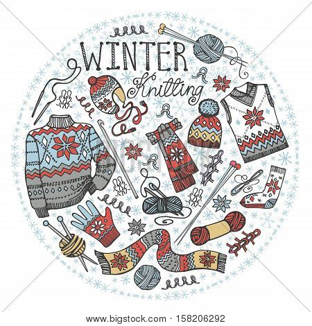 Doodles.Winter knitting  needlework circle composition with male knittwear, snowflakes.Colored hand drawing Vintagebascground.Christmas, new year  Vector, hand made supplies.Design template.