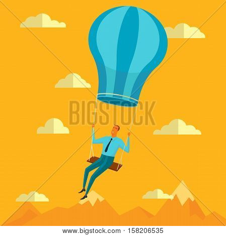Businessman in the sky position sitting on balloon peace for any spiritual and inner peace business concepts,vector illustration.