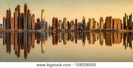 Panoramic view of Dubai Marina bay, UAE