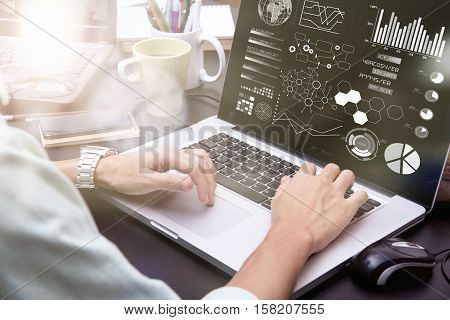 businessman using on computer laptop with business analysis graph risk management on the computer screen. business finance concept.