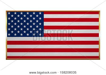 American national official flag. Symbol of the United States. Patriotic US banner design background. Correct colors. Flag of USA with golden frame fabric texture illustration. Accurate size color