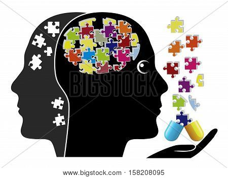 Smart Pills against Dementia. Person taking medication to fight memory loss