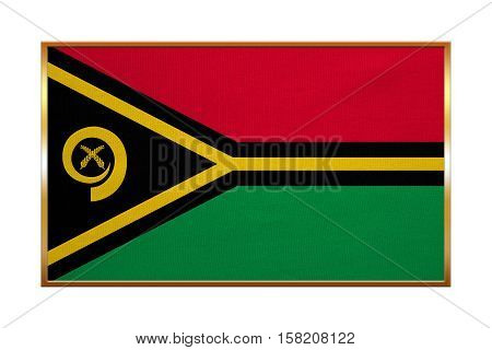 Vanuatuan national official flag. Patriotic symbol banner element background. Correct colors. Flag of Vanuatu with golden frame fabric texture illustration. Accurate size color