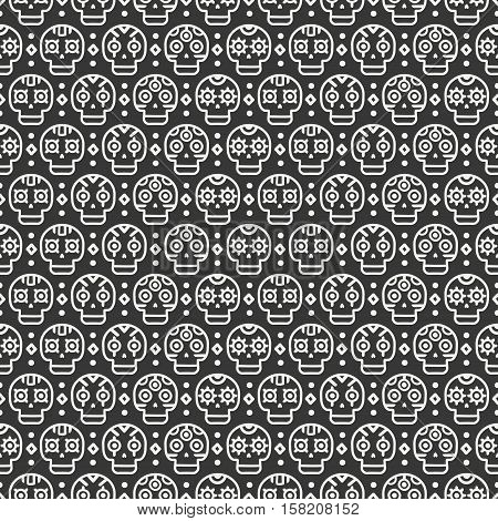 Day of the Dead. Tribal hand drawn line mexican ethnic seamless pattern. Border. Wrapping paper. Print. Doodles. Tiling. Handmade native vector illustration. Aztec background. Texture. Style skull