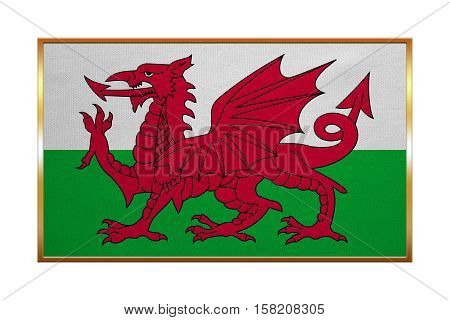 Welsh national official flag. Patriotic symbol banner element background. Correct colors. Flag of Wales with golden frame fabric texture illustration. Accurate size color