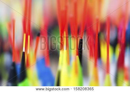 Fishing Floats Close Up Blurred Colorful Background