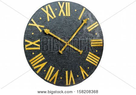 big clock vintage on a white background