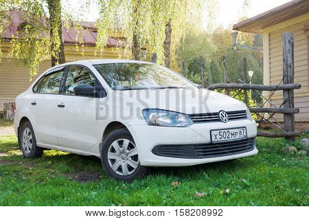 Smolensk, Russia - October 01, 2016: Volkswagen Polo parked near the country house. Supermini car produced by the German manufacturer Volkswagen since 1975.