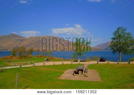 Picnic area Loch Eil Scotland uk in Scottish Highlands west of Kinlochleven and just off A82 south west of Fort William