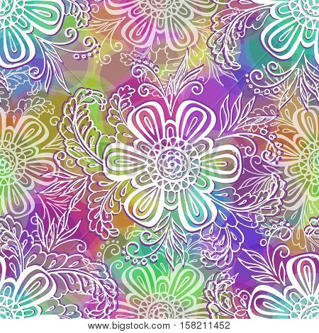 Seamless Background, Tile Contours Floral Pattern, Symbolic White Flowers and Leafs and Abstract Colorful Ornament with Rings. Eps10, Contains Transparencies. Vector
