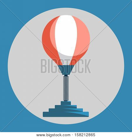 Punching bag icon. Red punching bag on a blue background. Sports Equipment. Vector Illustration