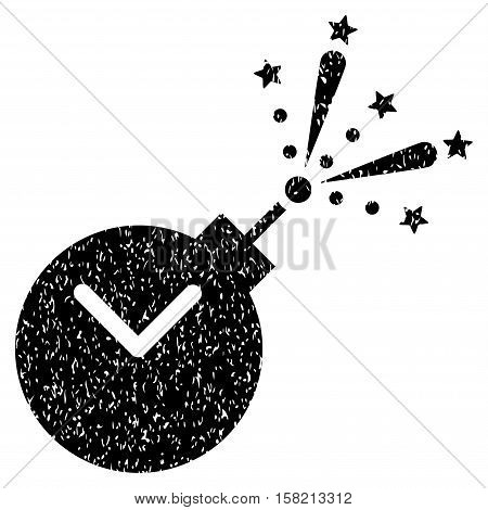 Time Fireworks Charge grainy textured icon for overlay watermark stamps. Flat symbol with scratched texture. Dotted vector black ink rubber seal stamp with grunge design on a white background.