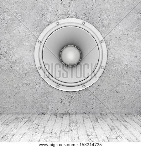wall with speaker and wooden floor. 3D rendering