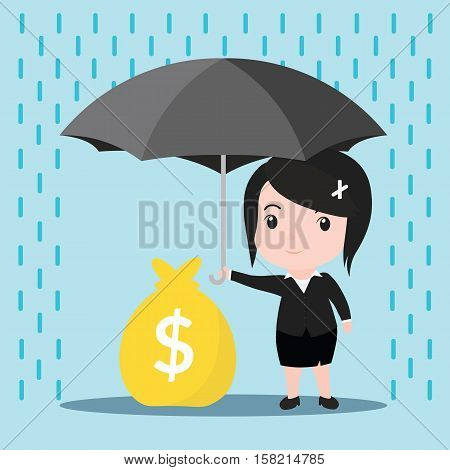 Business Women With Umbrella In The Rain Protects A Stacks