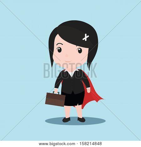 Business women superhero concept by cartoon vector.