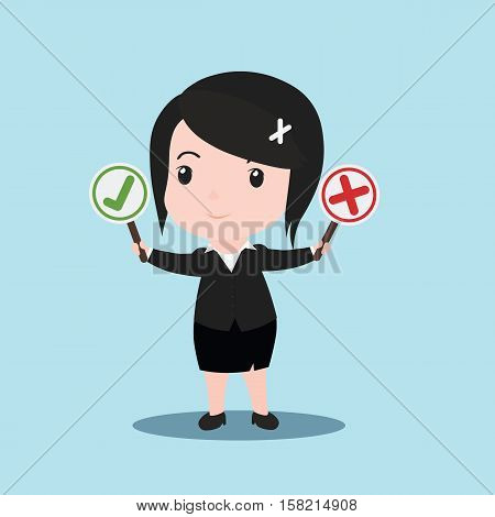 Busines Women Holding Right And Wrong Signs, Cartoon
