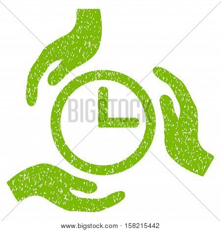 Time Care Hands grainy textured icon for overlay watermark stamps. Flat symbol with dirty texture. Dotted vector eco green ink rubber seal stamp with grunge design on a white background.