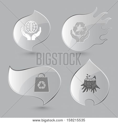 4 images: protection world, protection nature, bag, stub. Ecology set. Glass buttons on gray background. Fire theme. Vector icons.