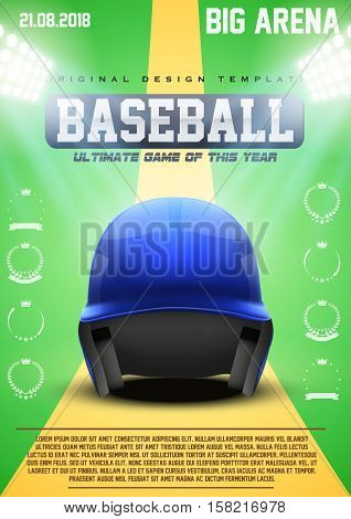 Poster Template of Baseball with Blue Helmet. Cup and Tournament Advertising. Sport Event Announcement. Vector Illustration.