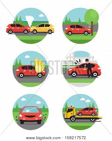 Different car accidents. Types of Insurance cases. Vector illusrtation.