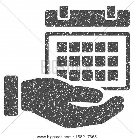 Service Timetable Hand grainy textured icon for overlay watermark stamps. Flat symbol with scratched texture. Dotted vector gray ink rubber seal stamp with grunge design on a white background.