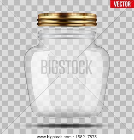 Glass Jar for canning and preserving. With opened metal cover. Heart form. Vector Illustration isolated on transparent background.