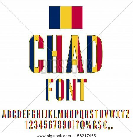 Chad national flag stylized font. Alphabet and Numbers in Vector Set